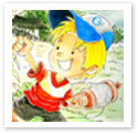 Playing With Kite : Children Illustration